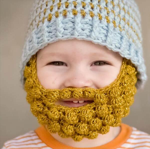 free crochet baby bobble beard pattern