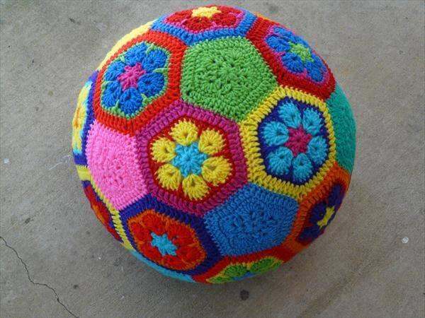 free crocheted African flower soccer ball
