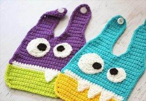 diy crochet monsters baby bibs pattern