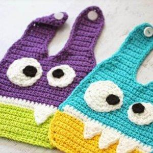diy crochet monsters baby bibs pattern