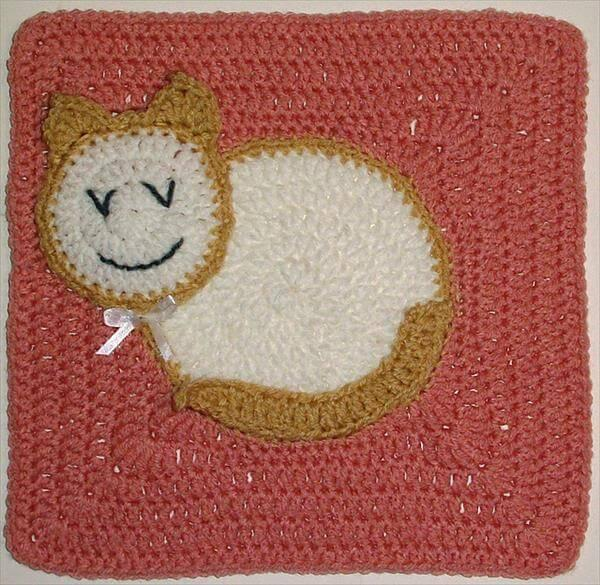 easy crochet kitty square pattern