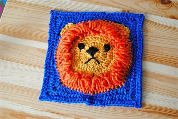 free crochet lion square pattern