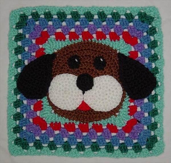 free crochet puppy dog square