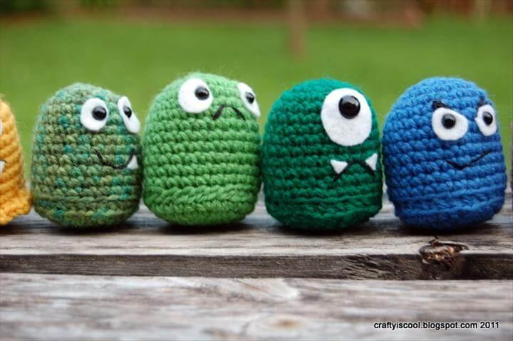 colorful crochet monsters
