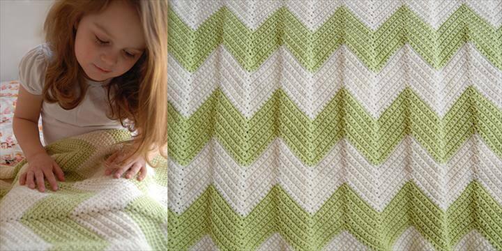 diy crocheted chevron baby blanket