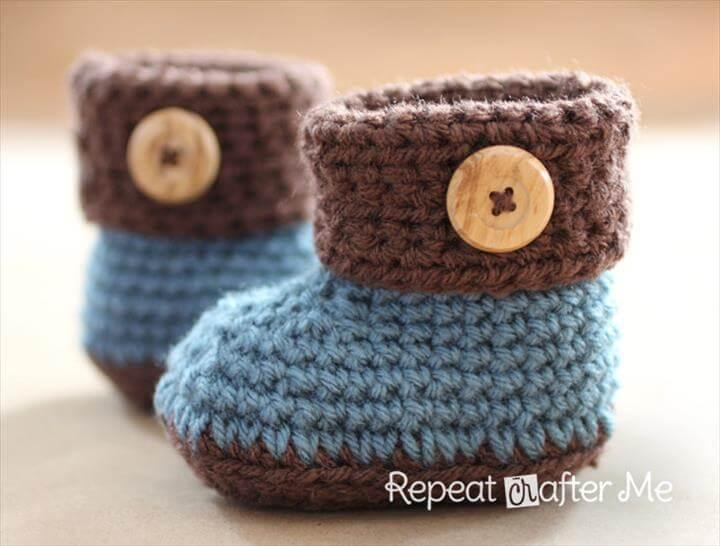 diy crochet cuffed baby booties