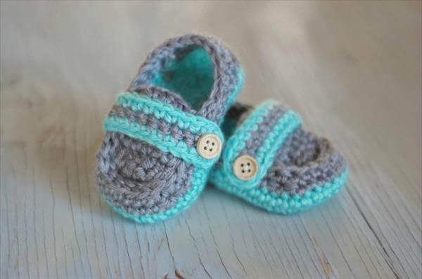 crochet free baby boat slippers
