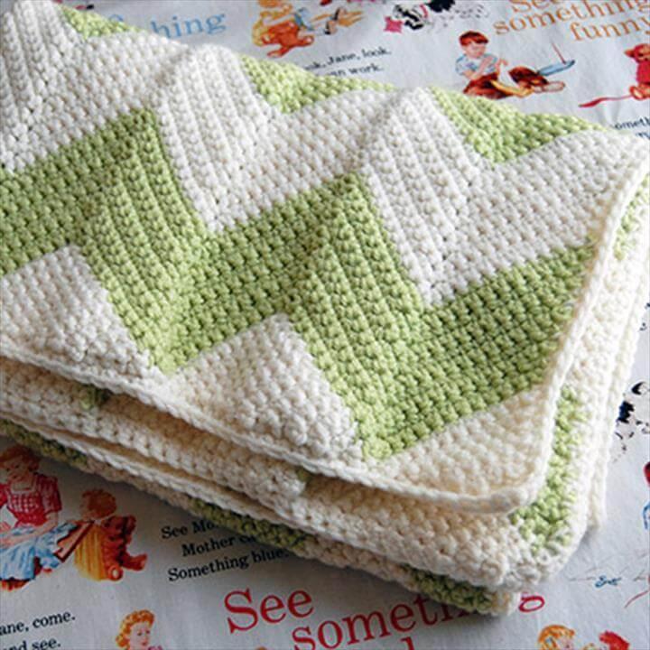 free crochet chevron baby blanket