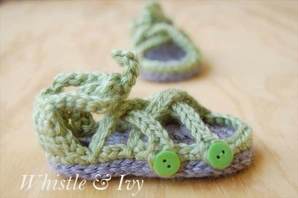 easy crochet baby gladiator sandal pattern