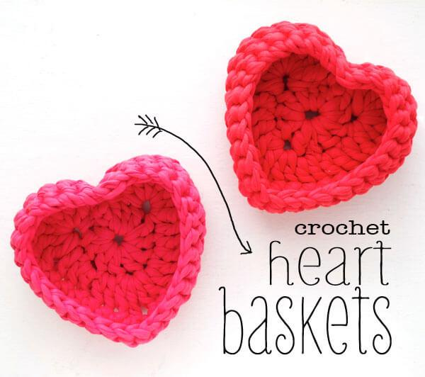 crochet heart shape basket pattern
