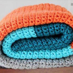 easy crochet striped baby blanket pattern