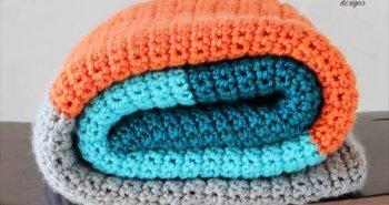 easy crochet striped baby blanket pattern
