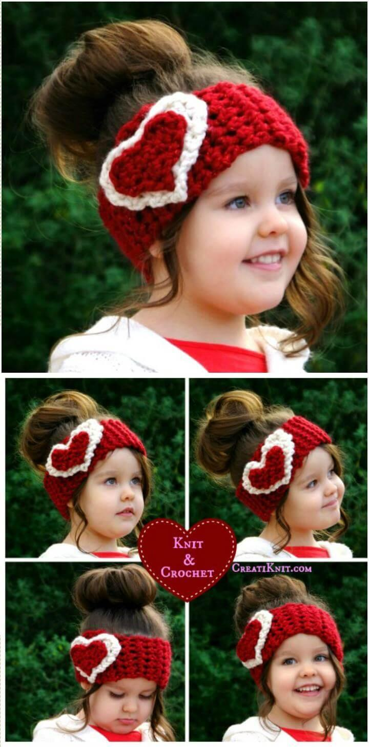 DIY crochet kids heart head warmer