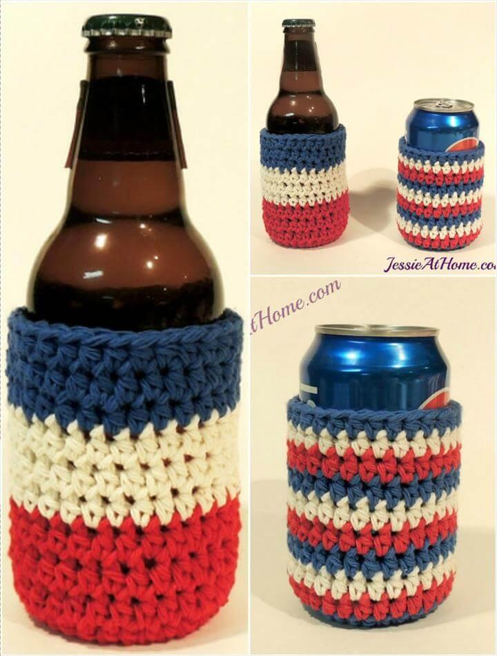 easy-to-crochet striped can cozy