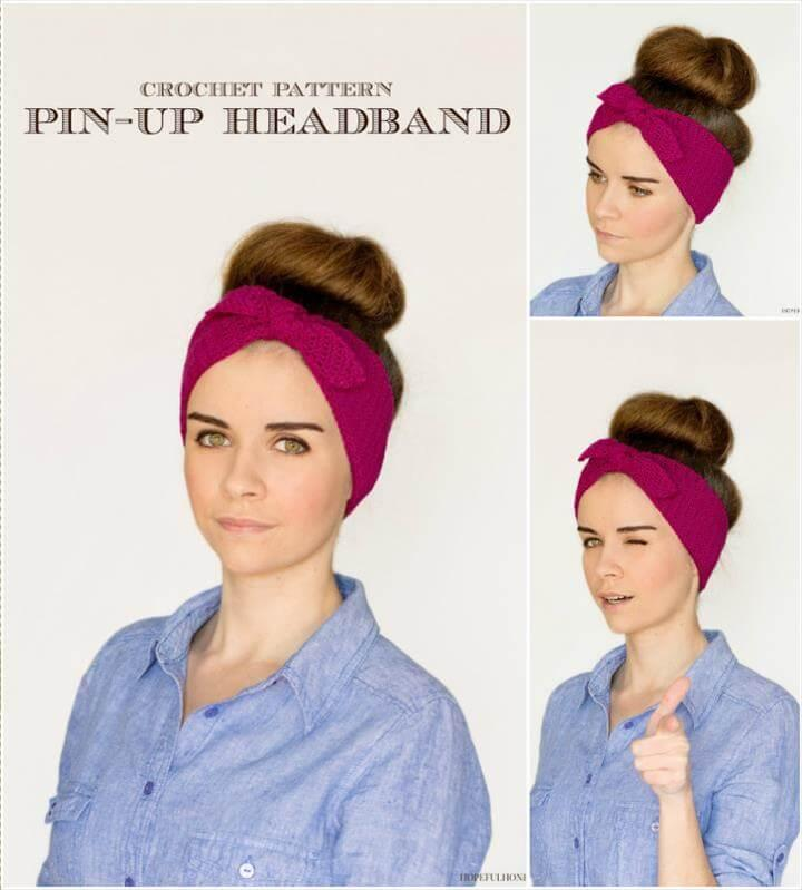 crochet retro headband pattern