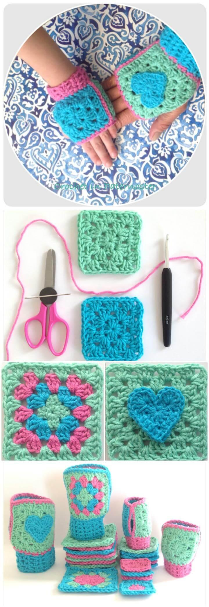 easy crochet boho granny square fingerless gloves