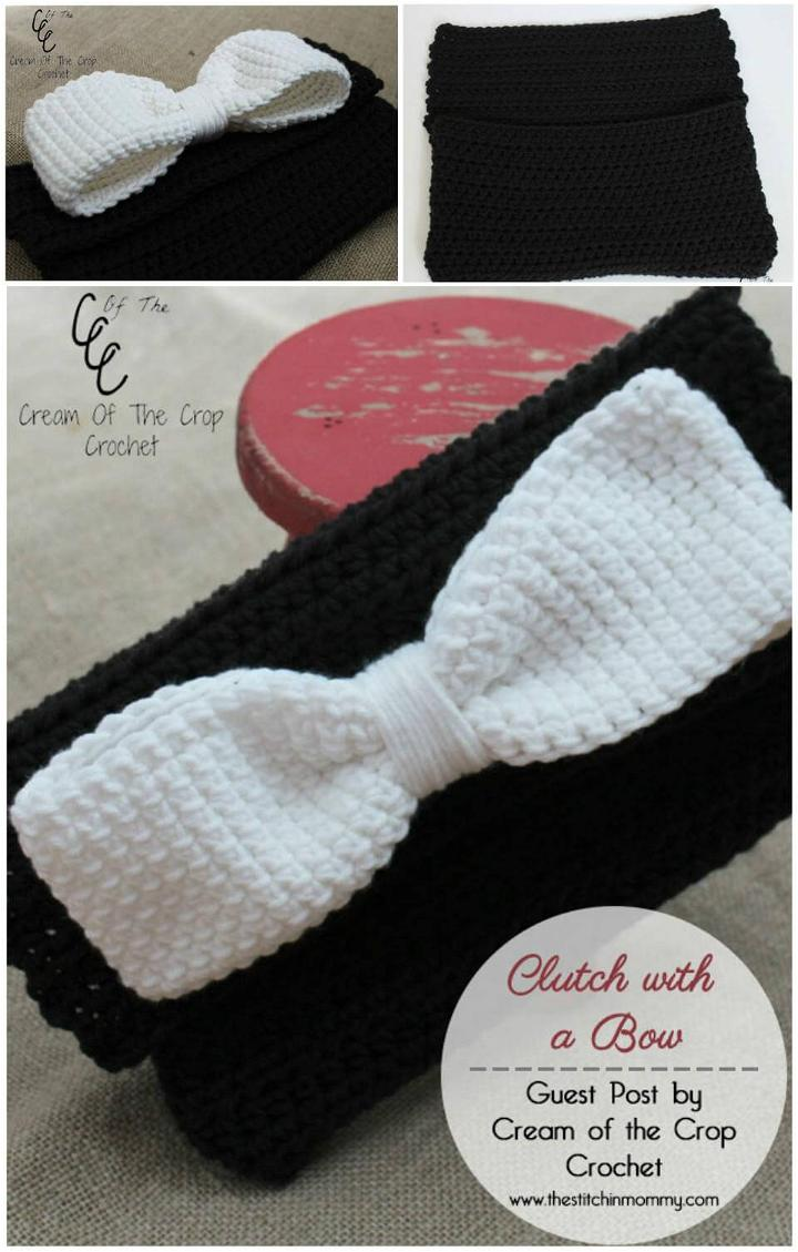 adorable crochet bow clutch