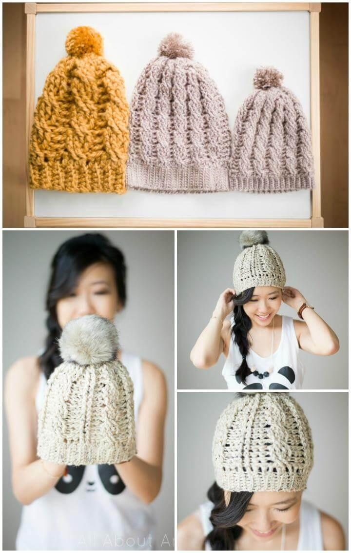 crochet cabled beanie free pattern