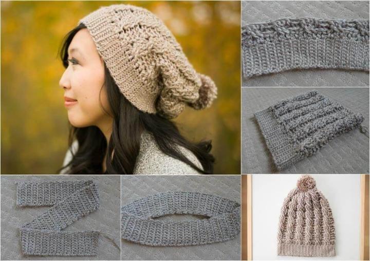 easy-to-crochet cabled slouchy hat pattern