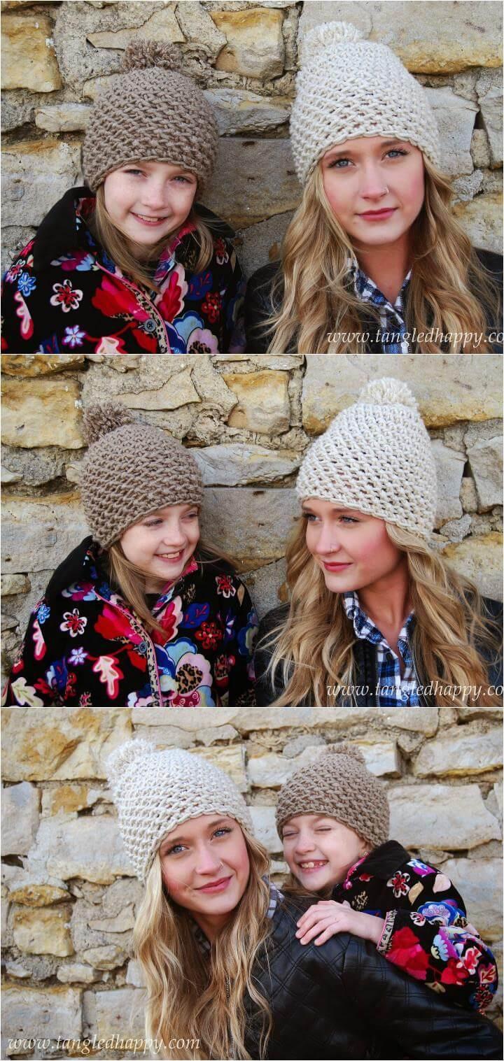 easy chunky crochet pom pom beanie