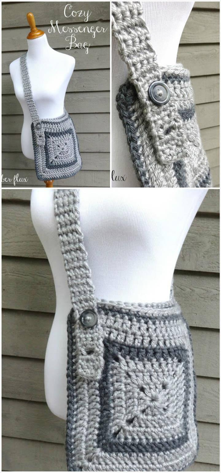 crochet cozy messenger bag