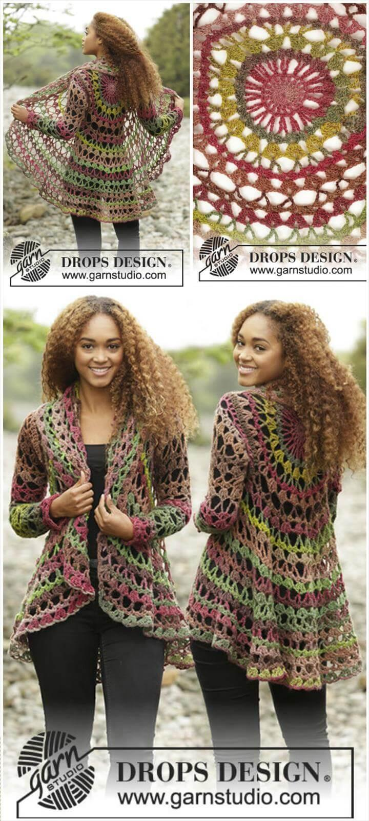 12 Free Crochet Patterns for Circular Vest Jacket – 101 Crochet Patterns