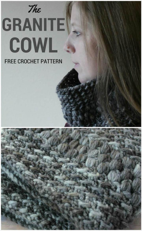 free crochet granite cowl free pattern
