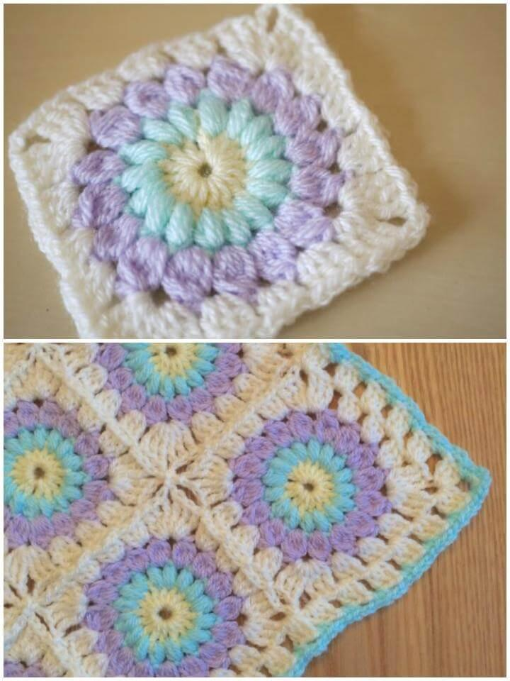 crochet granny square sunburst blanket free pattern
