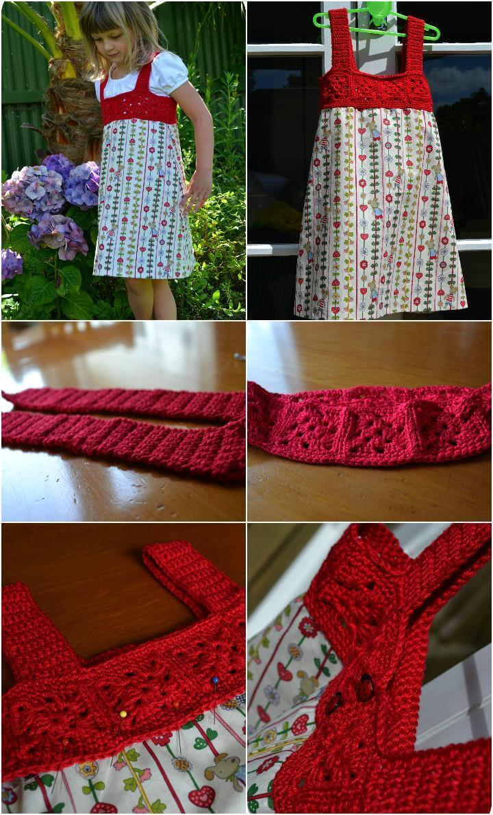 free crochet granny square yoke dress free pattern