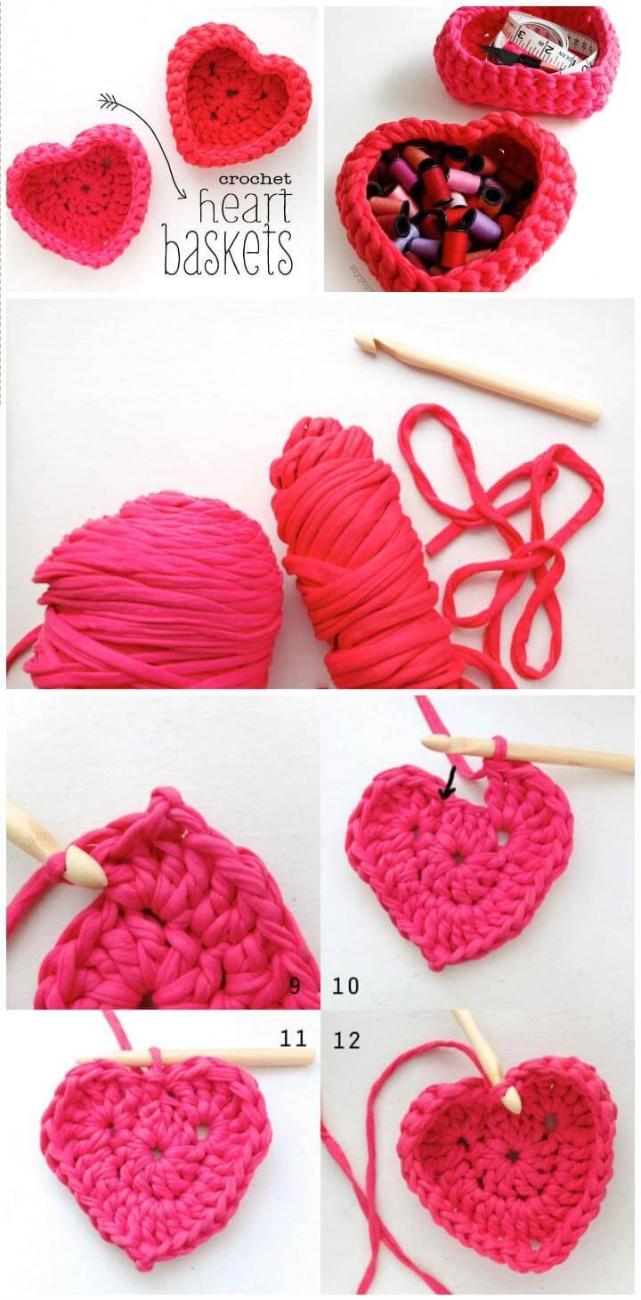free crochet heart basket free pattern