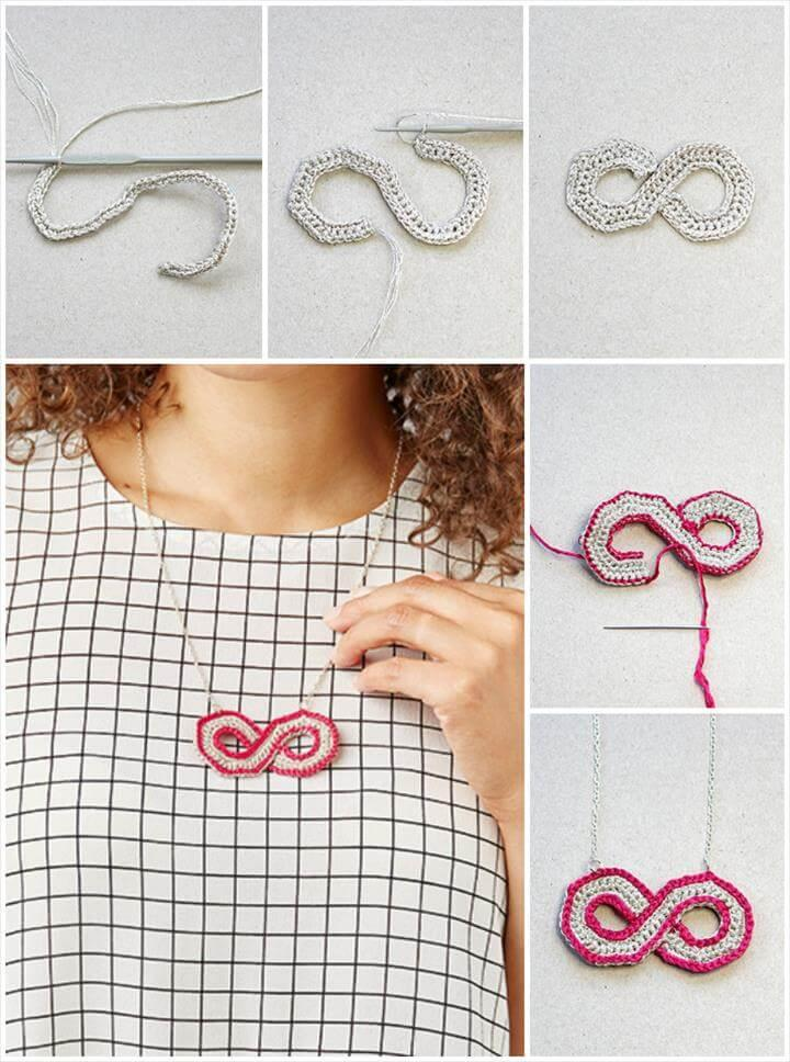 crochet infinity symbol necklace