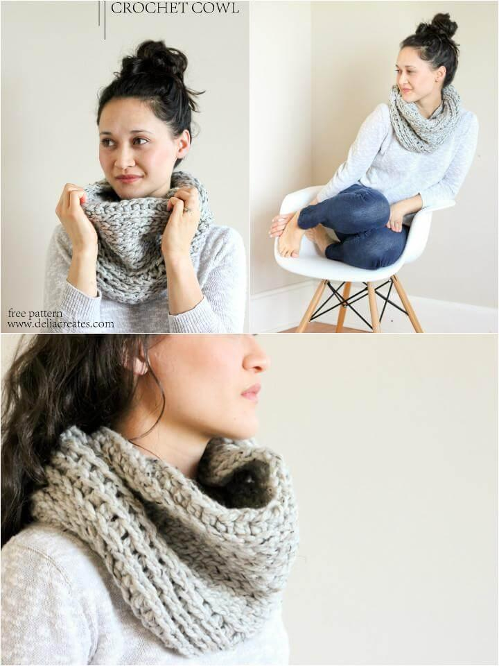 DIY knit look crochet cowl pattern