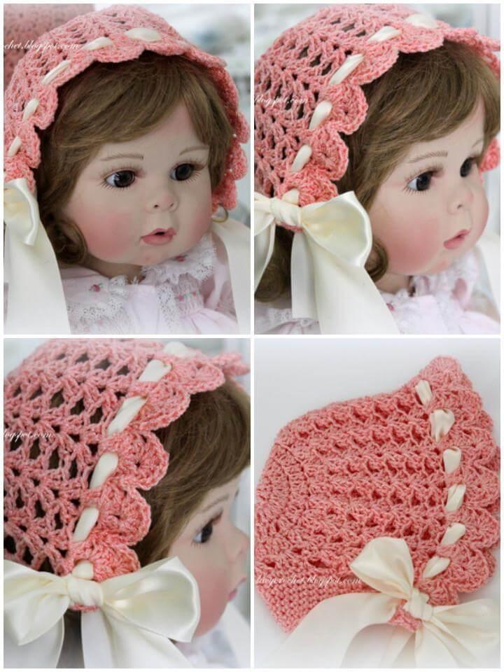 crochet lacy vintage bonnet free pattern