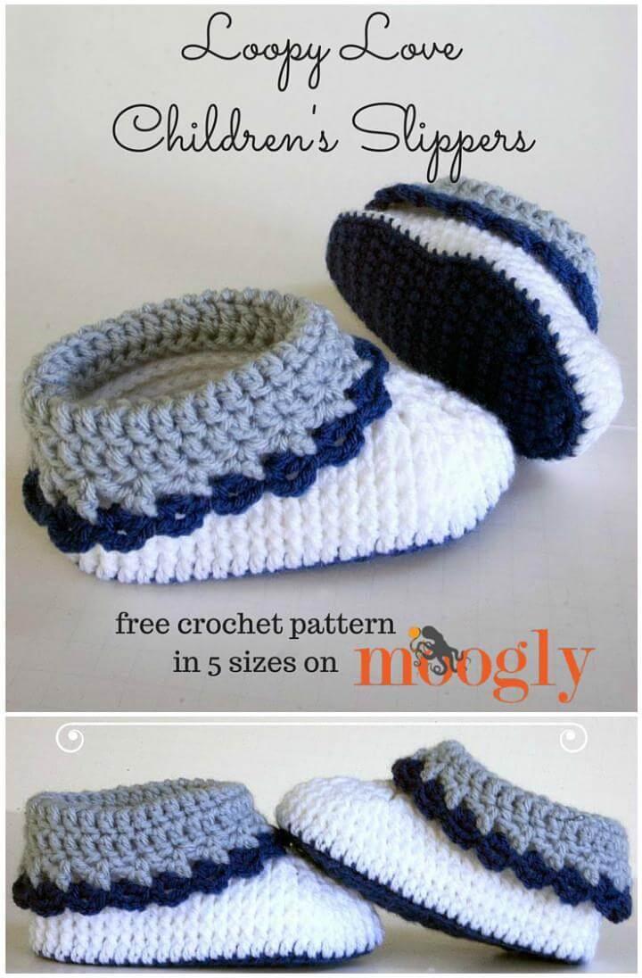 easy crochet loop love kids slippers free pattern