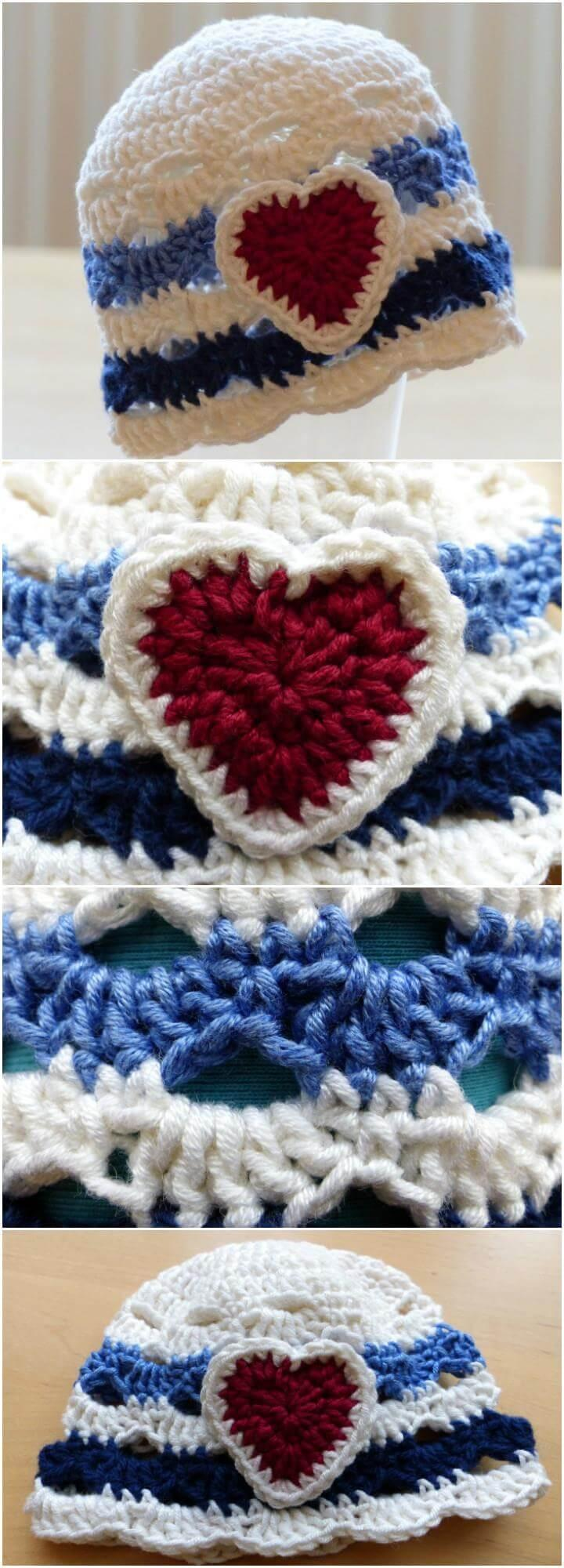 free crochet love heart nautical baby hat pattern