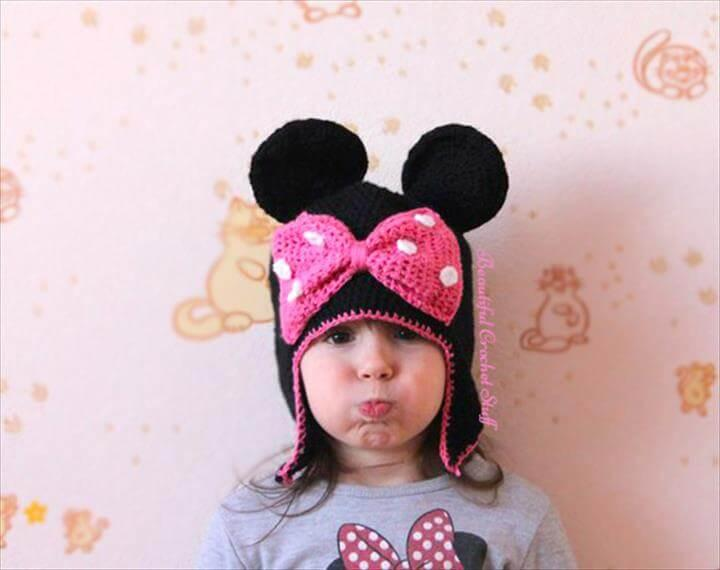 cute crochet minnie mouse hat pattern