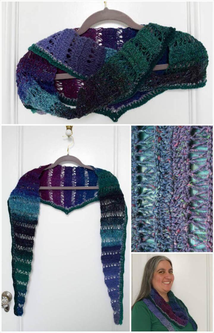 crochet peacock stitch shawlette