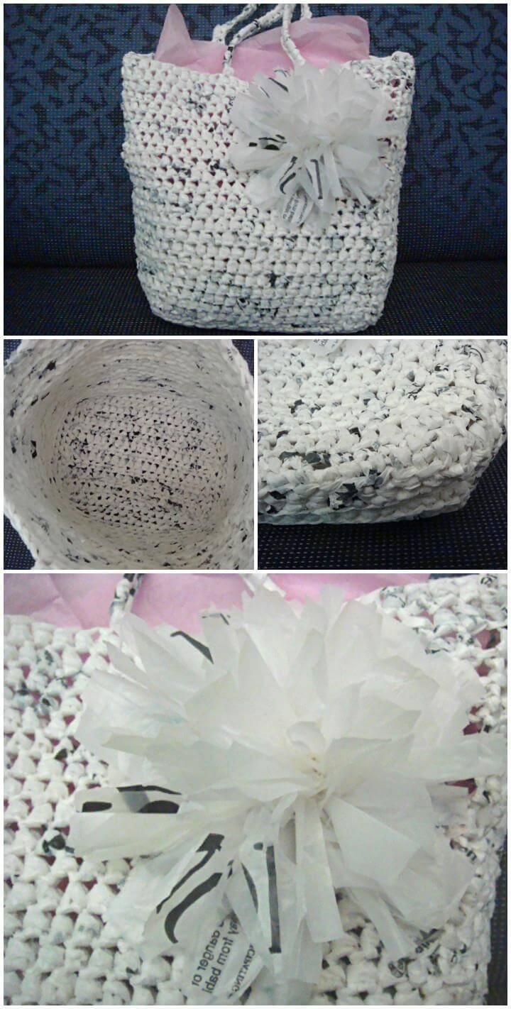 easy crochet plarn gift bag with flower