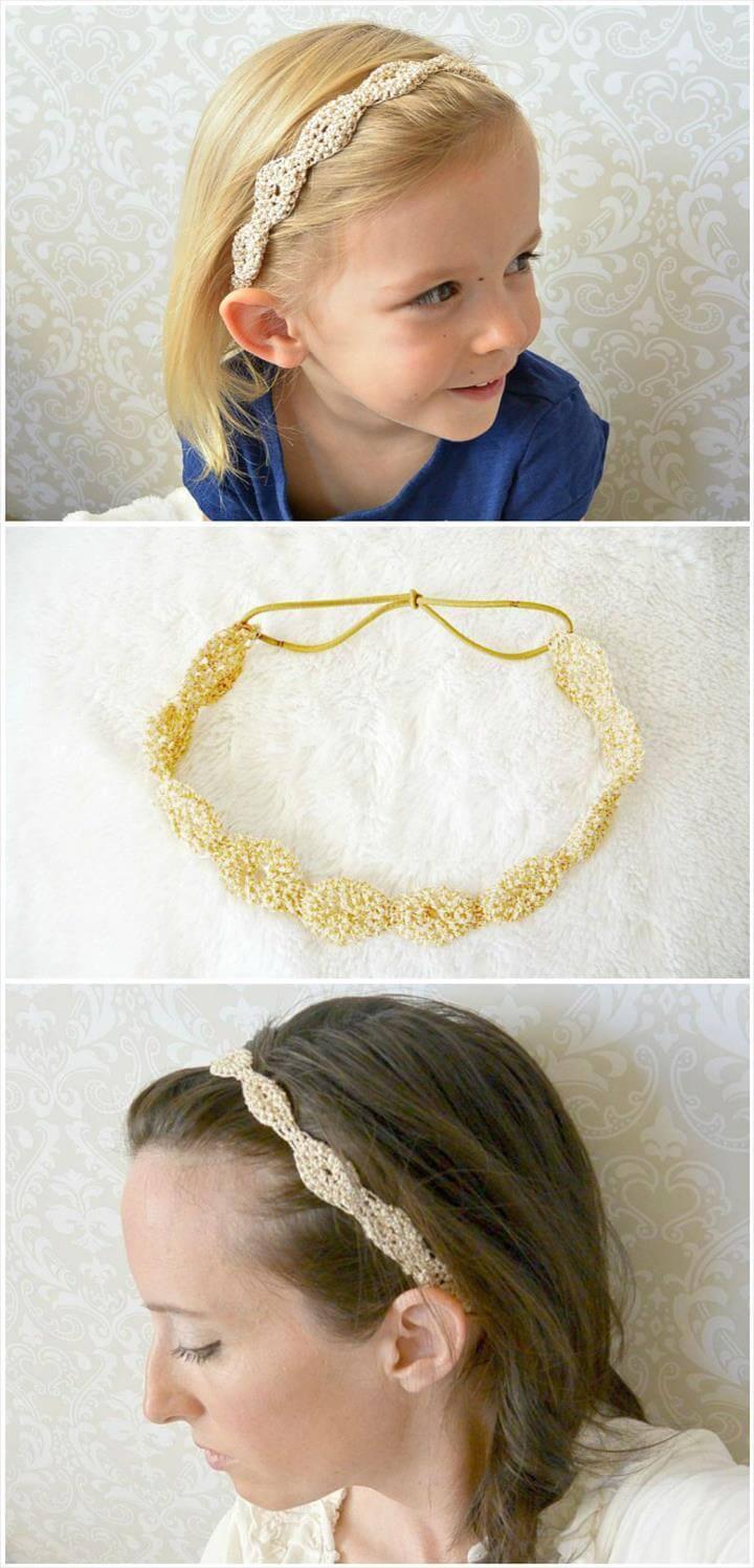 free crochet provence gold fleck headband pattern