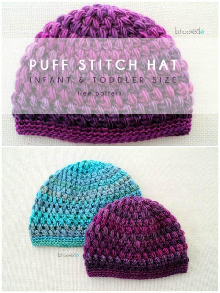 crochet puff stitch baby hat free pattern