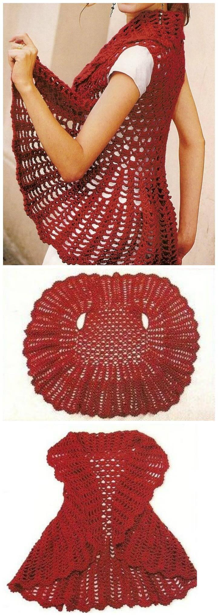 12 Free Crochet Patterns for Circular Vest Jacket – 101 Crochet Patterns