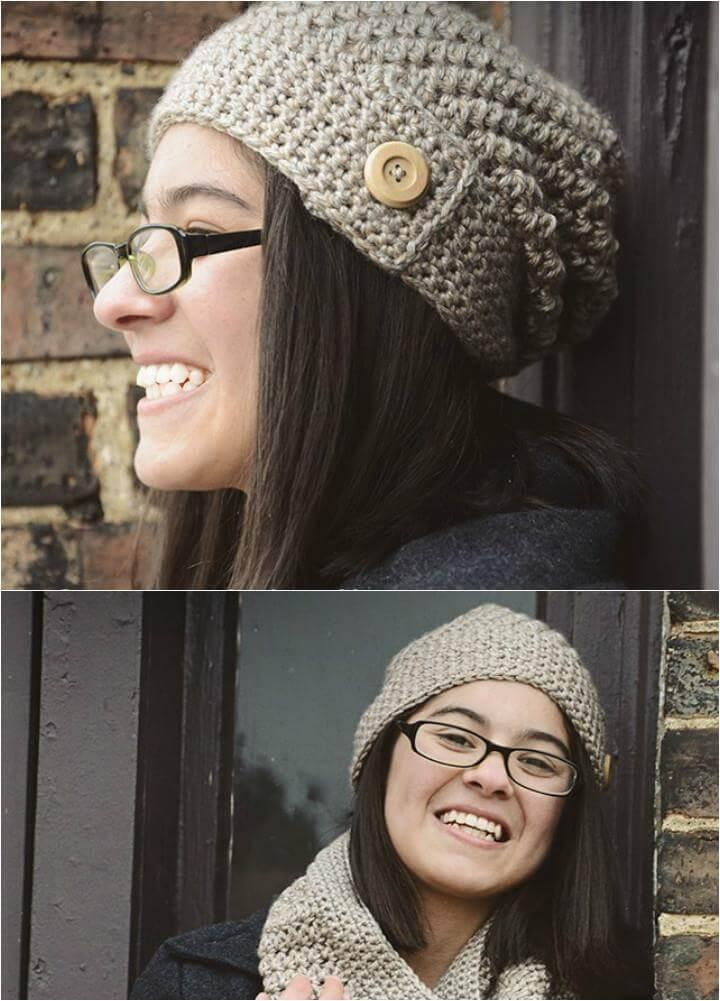 DIY crochet sandy slouchy hat