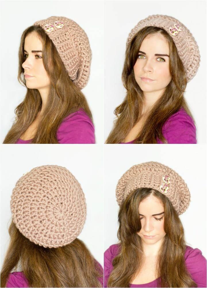 crochet slouchy beanie free hat pattern