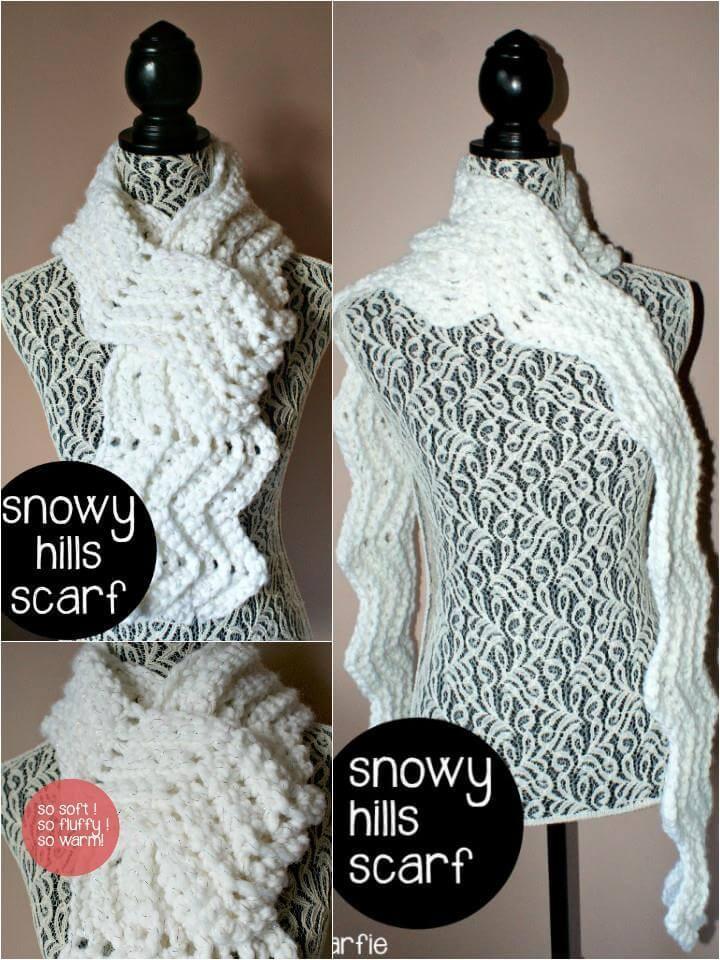 free crochet snowy hills scarf