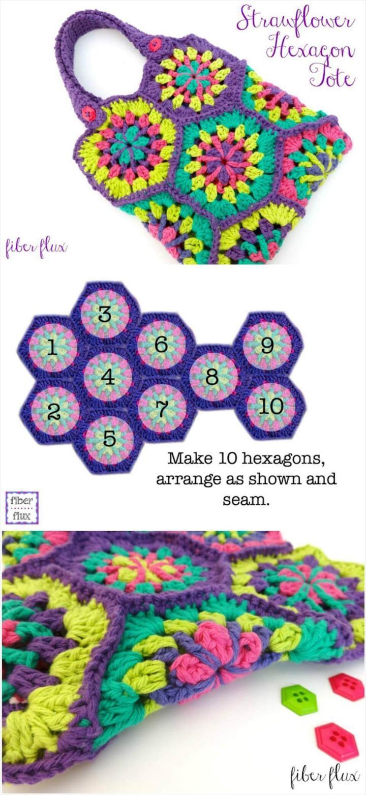 crochet strawflower hexagon tote