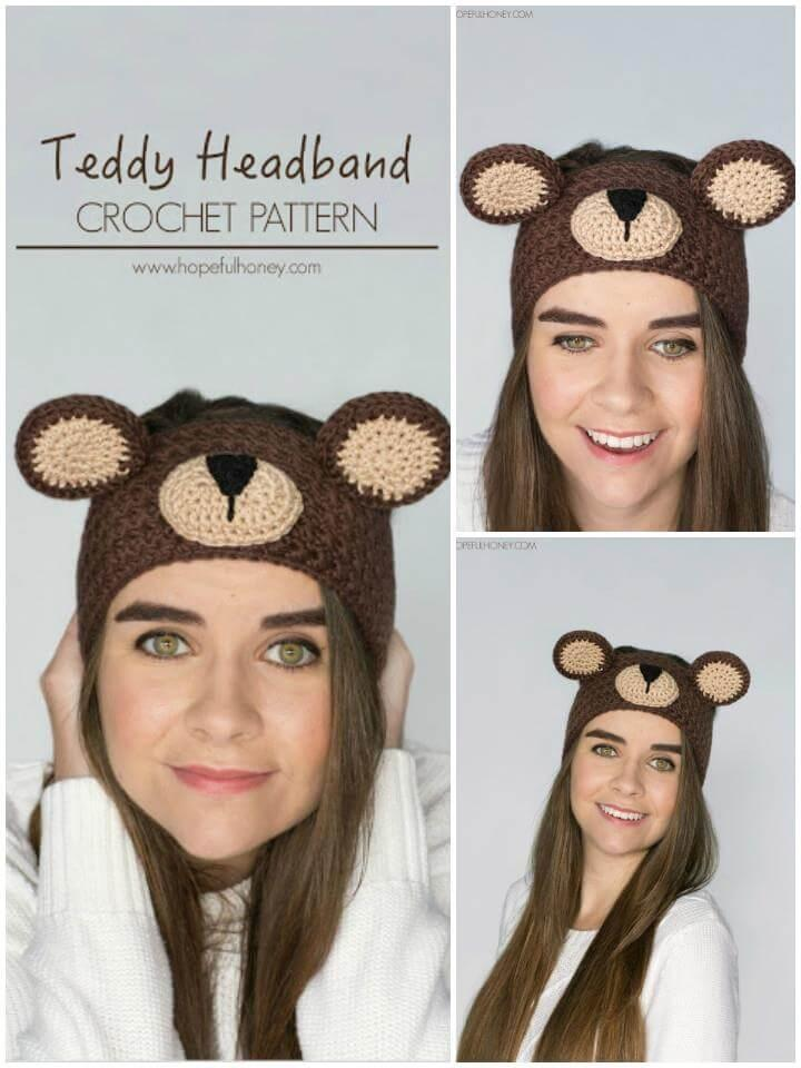 super cute crochet teddy bear headband