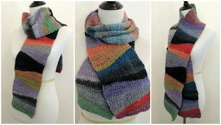 multicolored crochet textured waves scarf