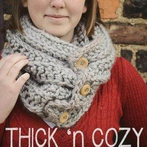 easy thick and ribbed cowl pattern