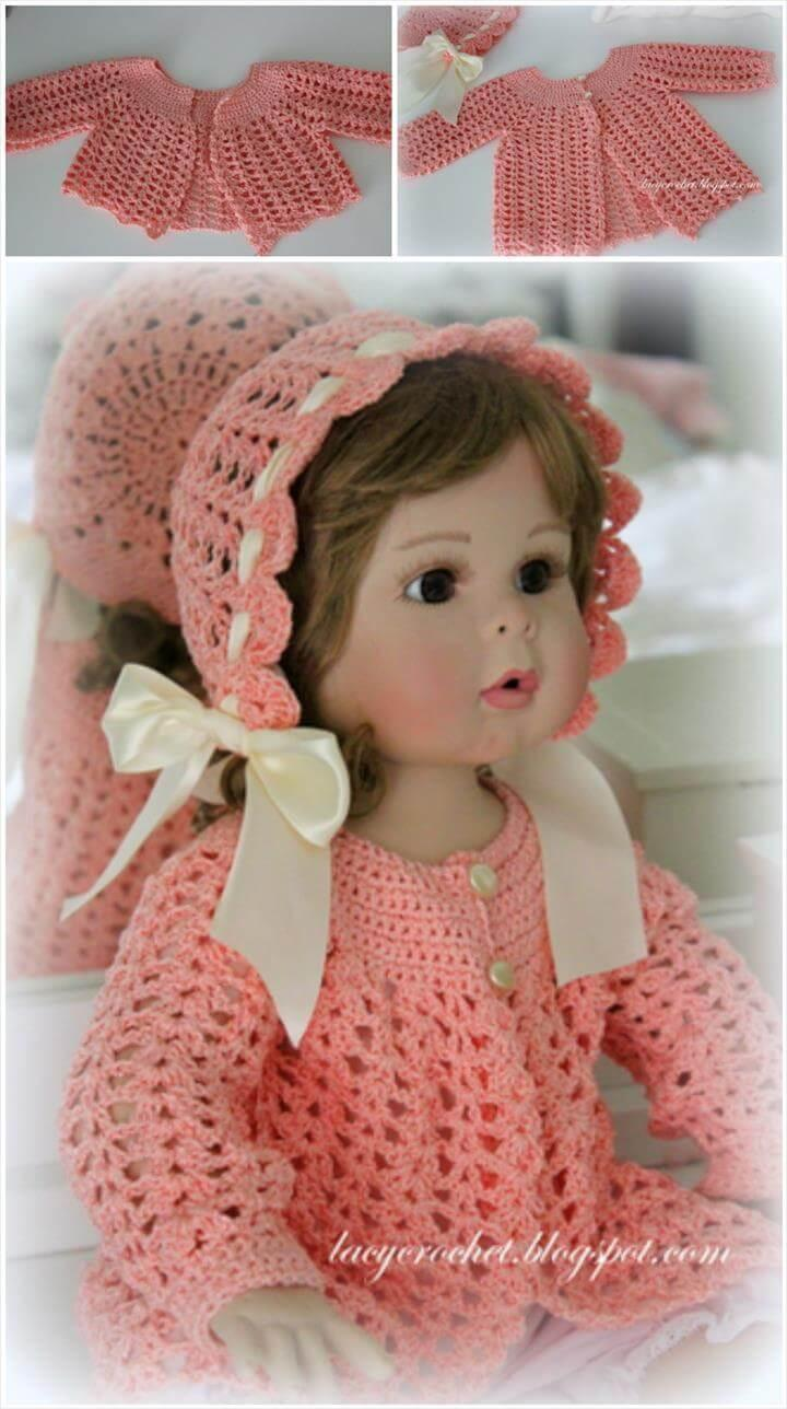free crochet vintage baby lacy sacque pattern