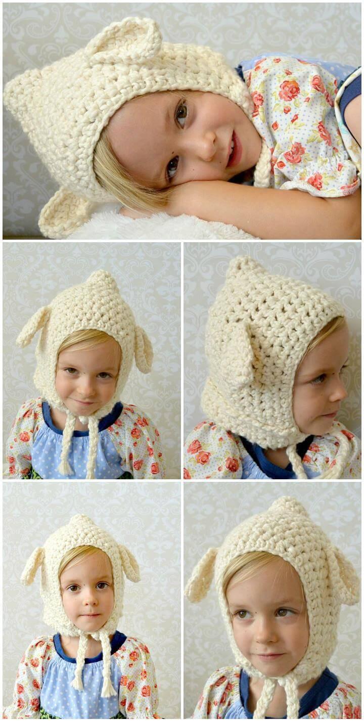 funky crochet vintage lamb baby hat